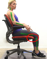 Picture A - no space between leg and seat pan