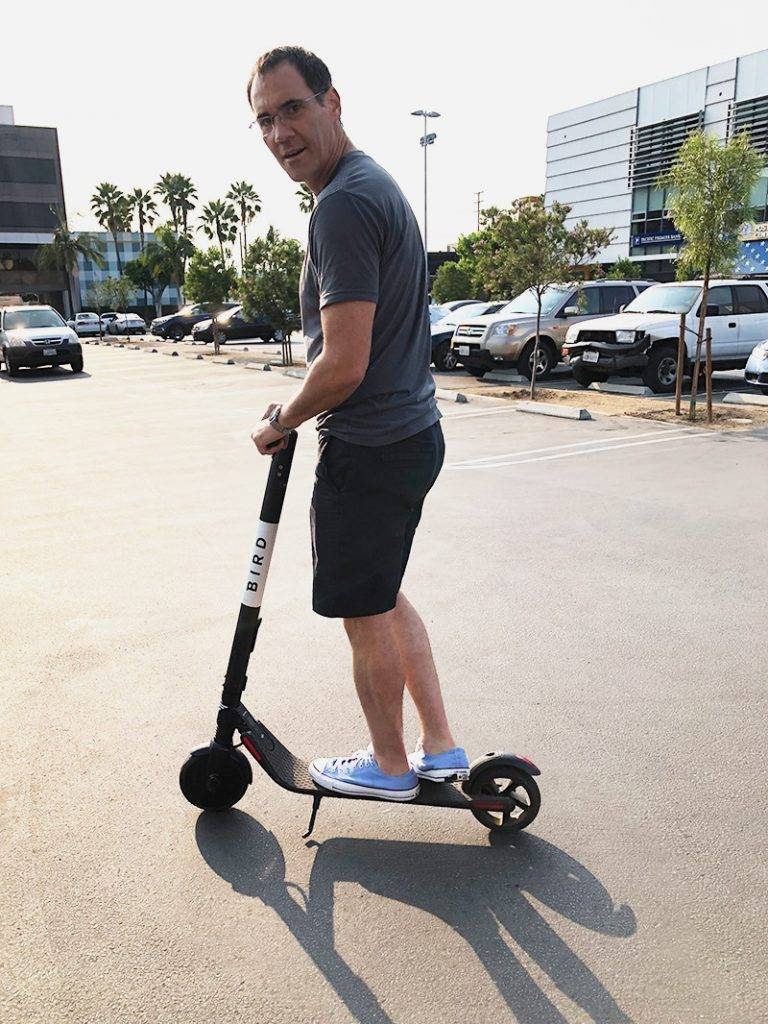 Steve Wilmes on a Bird scooter